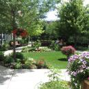 Beautifully landscaped patio and walkway